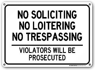 No Soliciting Loitering Trespassing Sign - 14