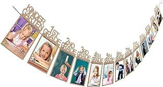 Exteren Child Graduation Gift Decorations kindergarten-12 Grade Photo Banner Wall Photo Holder Photo Folders Brown