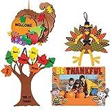 Craft Kits Thanksgiving & Autumn | Peanuts Be Thankful Picture Frame Magnet Kit, Foam Cornucopia Door Sign Kit, Turkey Making Kit & 'Tree of Thanks' Kit | Kids Family Holiday Activities Gift Set