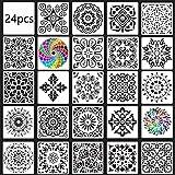 DAHI Mandala Dotting Schablone, 24 Stück Sortierte Muster Wiederverwendbares Mandala Schablonen für DIY Wand, Felsen Stein, Holzmöbel und mehr