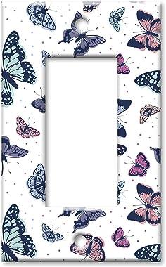 Art Plates 1 Gang Decora - GFCI Wall Plate - Pink, Blue and Green Butterflies