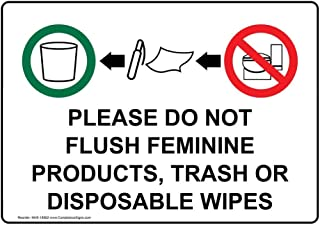 do not flush sanitary products signs