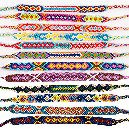 MoreLucky Paquete de 12 pulseras trenzadas hechas a mano de Nepal de la amistad para hombres y mujeres, coloridas tejidas, tobilleras, festivales, colores al azar