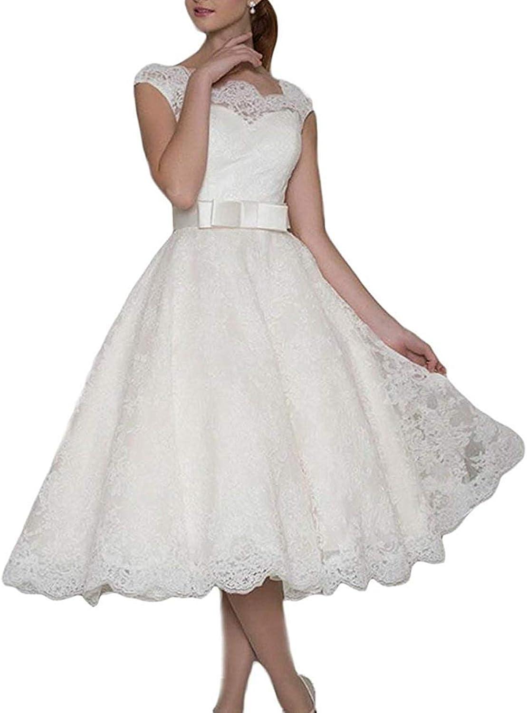 Alexzendra Lace Short Wedding Dress for Bride 2019 Cap Sleeves Bride Dress New
