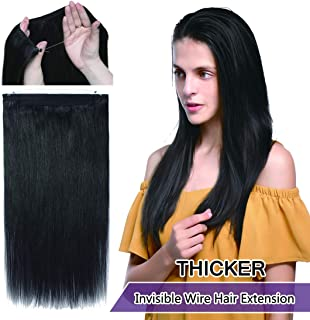 SEGO Invisible Secret Double Wire Hair Extensions Human Hair Translucent Fish Line Hidden String Crown Hair Extensions with Miracle Headband Hairpieces #1B Natural Black 22 inches 120g