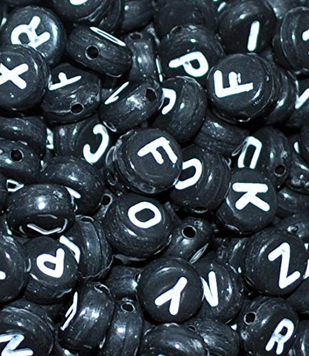 500pcs Transparent Flach assortiment de perles acrylique lettre alphabet de 7mm
