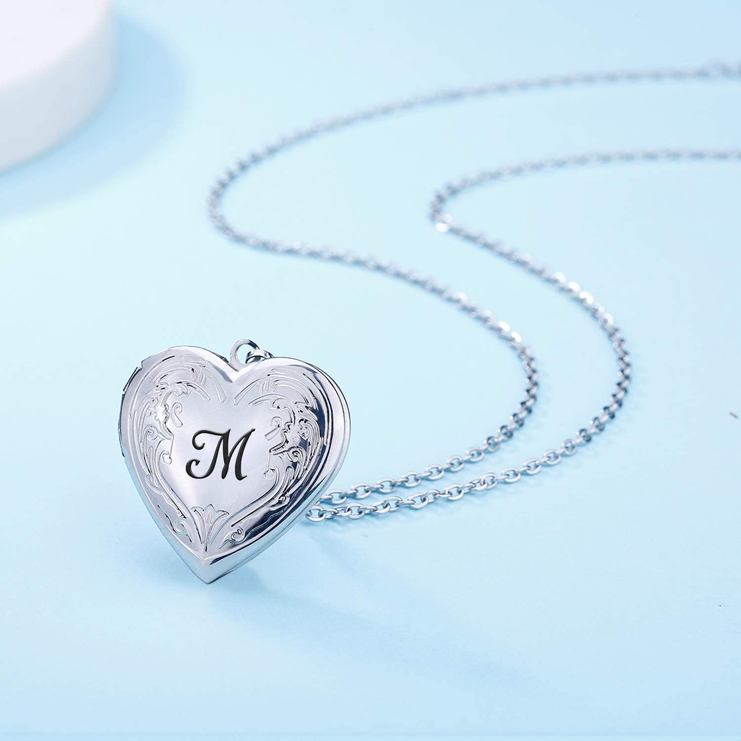 Locket Necklace that Holds Pictures Initial Alphabet A-Z Letter Pendant Necklace Platinum Plated Gifts for Women