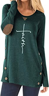 Women's Faux Suede Elbow Patch T-Shirt Long Sleeve Letter Print Tunic Shirts Tops