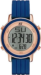 Skechers SR6010 Reloj Digital Multifunción para Mujer Extensible de Silicon, color Gris Claro/Azul