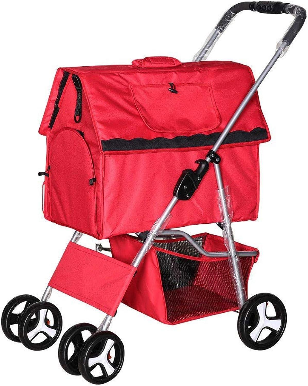 CDDJJ Luxury Pet Cart, Lightweight Folding Dog Stroller (color   B)