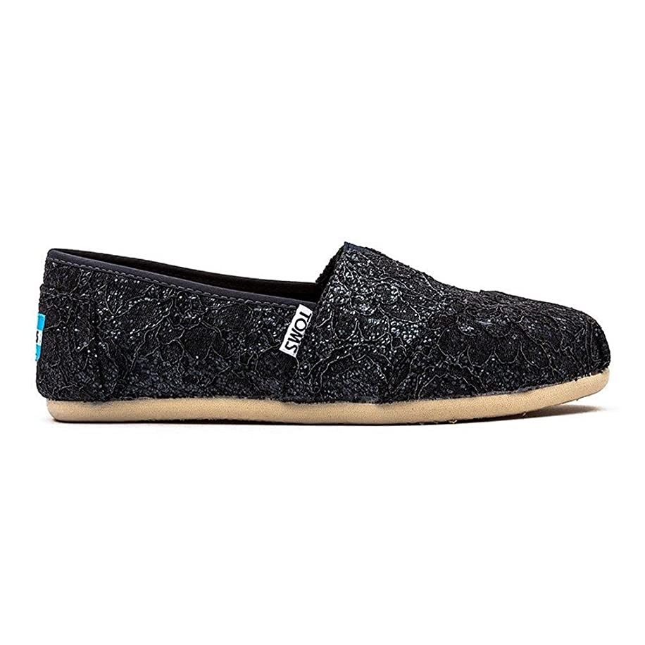 TOMS Womens Lace Glitz Slip On Alpargata Flat Shoe