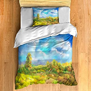 Duvet Cover Magical autumn landscape in oil painting illustration Twin Size 2 Pcs Bedding Set Modern Style Print Set with ...