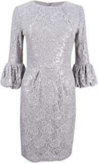 Betsy & Adam Women's Sequined Lace Bell-Sleeve Dress (12, Grey)