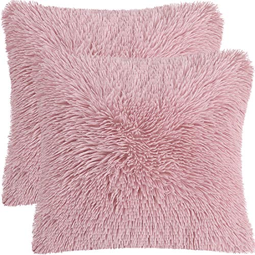 PiccoCasa Pack of 2 Soft Fuzzy Faux Fur Throw Pillow Covers, Decorative Long Shaggy Cushion Covers, Soft Sofa Pillowcases for Livingroom Couch Bedroom Car Seat, 60 x 60cm, Blush Pink