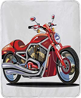 JOSENI Throw Blanket,Super Sexy Motorbike with Vivid Color Properties Winged Engine Machine Freedom,Microfiber All Season Bed Couch,60