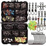 160pcs/boîte Kit d'accessoires de pêche, y compris les crochets, Bullet Baisse Plomb, différents Snaps émerillon , glissières Lestes, perles de pêche, ensemble de pêche avec Boîte