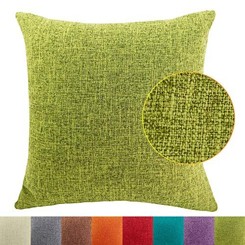 DimaiGlobal Funda de Cojín Algodón de Lino de Color sólido Square Decorativos Felpa Throw Funda de Almohada para Hogar Dormitorio Sofá Coche Cama Fundas de Cojines Verde 50X50CM