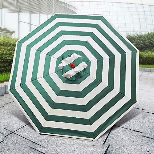 Parasol Pliable De Patio Extérieur Grand 2.5m De Plage Rayé Protection Solaire Parapluie De Table De Marché pour Terrasse Jardin Café Pelouse