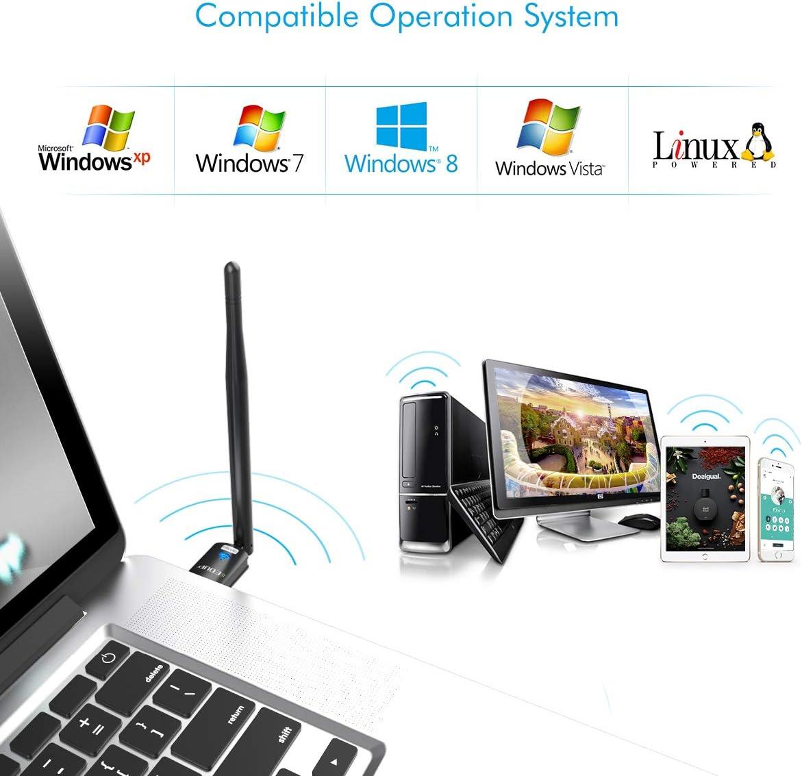 MAC 10.6-10.11 EDUP USB WiFi Adapter for PC Wireless Network Adapter for Desktop Dongle High Gain 6dBi Antenna Support Desktop Laptop Compatible with Windows 10//8//7//XP//VISTA