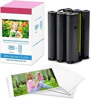 Fimax - Papel fotográfico y cartucho de repuesto para Canon Selphy CP1300 CP1200 CP910 7737A001 / KP-108IP 3 cartucho de tinta de color y 108 hojas de papel de impresora (100 x 148 mm)
