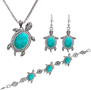 Diamondo Women Tortoise Silver Turquoise Necklace Earring Bracelet Jewelry Set