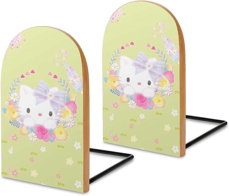 KRISMARIO Hello Kitty Light Green 2pcs Heavy Wood Logs Bookends