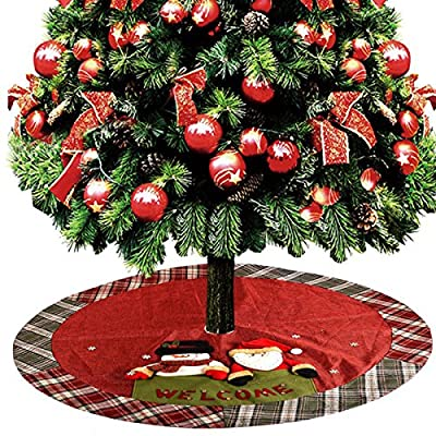 Red Christmas Tree Skirt with Plaid Trim and Welcome Sign