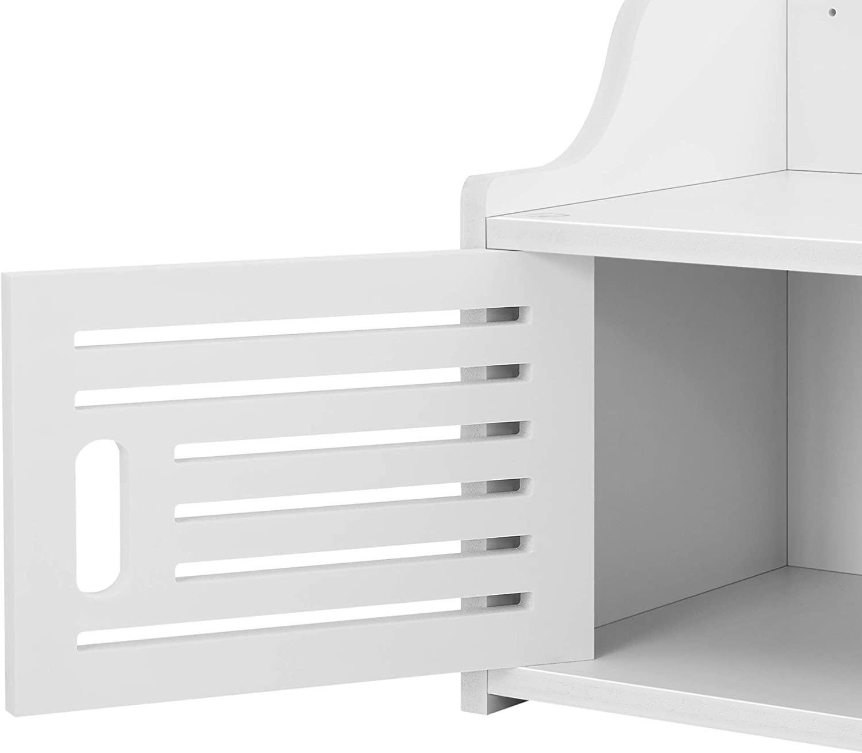 en.casa Mueble para ba/ño de Pared Norberg 28 x 62 x 25 cm Mueble Auxiliar para ba/ño 1 Compartimento de Armario y 2 /Áreas de Almacenamiento Abiertas WPC Blanco