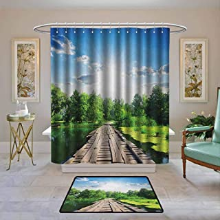 Kenneth Camilla01 Shower Curtain Nature,Old Wooden Vintage Wooden Deck on Silent River in Sunny Day Rays Fresh Forest Photo, Blue Green,Water Resistant Decorative Bathroom Fabric 72
