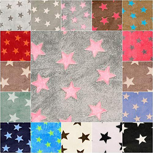 DIE NÄHZWERGE Superflausch Sterne, in 15 Farbkombinationen - Meterware ab 50cm | Wellness-Fleece Softplüsch Microfleece – Stars, Weihnachten, Ganzjahres-Stoff (Fond: grau, Sterne: rosa)