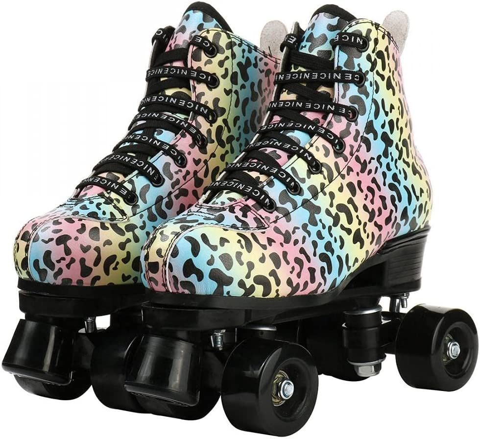 Roller Skates New popularity for Women Men Pattern Beginners Max 68% OFF Double-Row Leopard