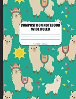 COMPOSITION NOTEBOOK WIDE RULED: Cute Llama Paper Journal for Kids, Girls and Boys, Teens, Students and Teachers   For Sch...