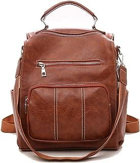 Fashion Women's PU Leather Zipper Shoulder Backpack, Mini Shoulders Bag, Multifunction Daypack Purse Bag for Girls Lady (Color : Brown, Size : 26 * 14 * 30cm)