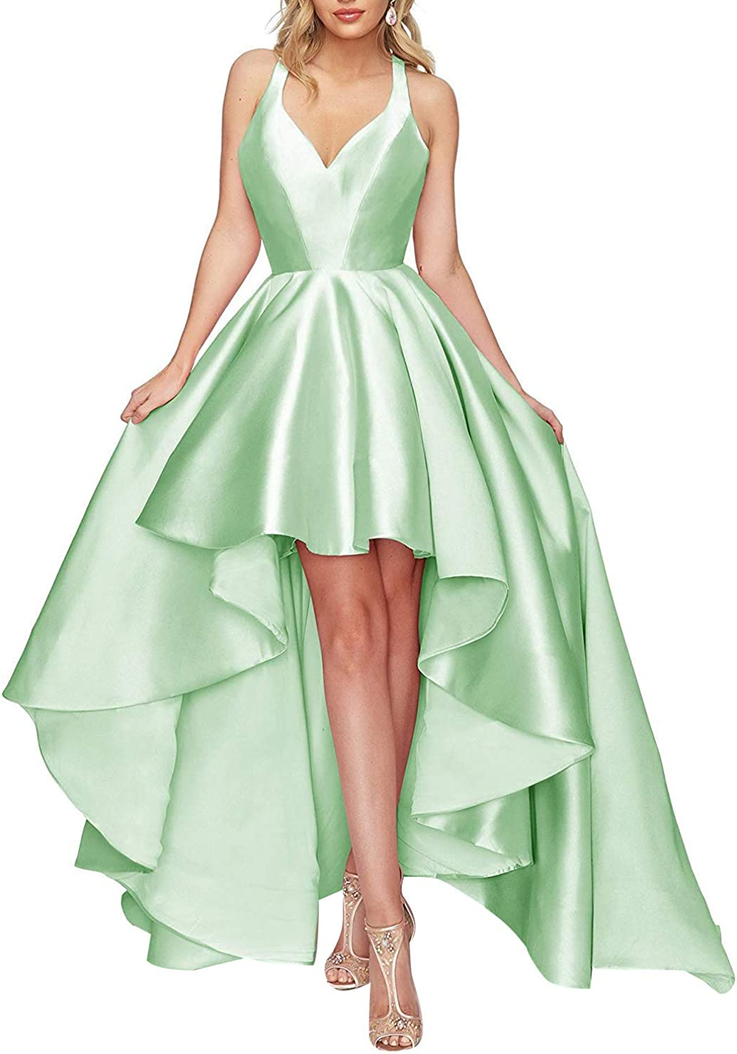 V Neck Prom Gowns High Low Satin 2019 Open Back Formal Evening Dreses for Women