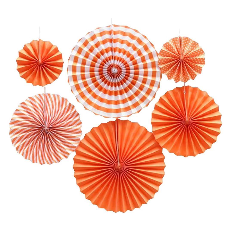 youta Hanging Paper Fans Kit Decor Folding Art Tissue Paper Fans Party Festival Wedding Home Decoration Orange Stripe