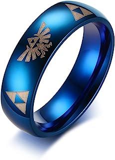 VNOX 6MM المرأة الرجال الأزرق الفولاذ المقاوم للصدأ أسطورة زيلدا الثلاثي الدائري