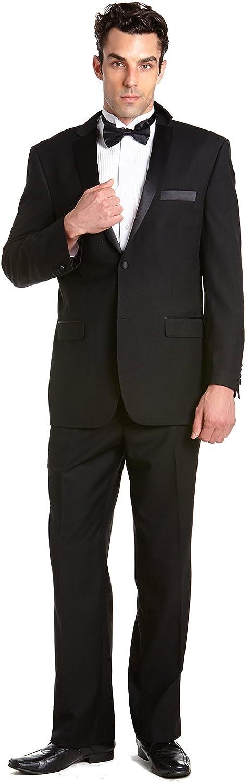 CONCITOR Men's Tuxedo Jacket Coat and Tux Pants Solid BLACK Color Two Button