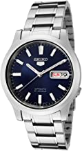 Seiko Unisex 5 Sports 37mm Steel Bracelet & Case Hardlex Crystal Automatic Blue Dial Analog Watch SNK793K1