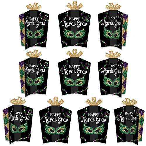 Big Dot of Happiness Mardi Gras - Table Decorations - Masquerade Party Fold and Flare Centerpieces - 10 Count