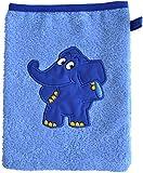 Smithy Waschhandschuh-Waschlappen, Motiv blauer Elefant, Farbe blau, Material Baumwolle
