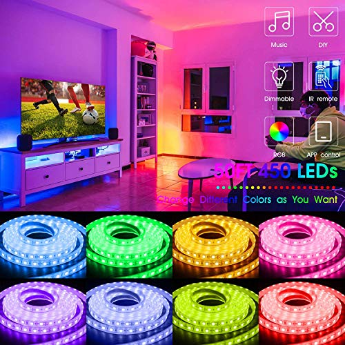 Led Strip Lights 50 Feet,TINOCOR Led Lights Strip App Control, Color Changing and Synchronization with Music,Led Lights for Bedroom,Room and Home Decoration 4