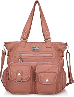 Angelkiss Womens Soft Leather Purses and Handbags Casual Shoulder Bag Top-handle Tote Bags with Zipper Pockets
