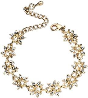 Chic Simple Femme Fille Fantaisie Bracelet Bijoux Strass Feuille Chaîne Fantaisi