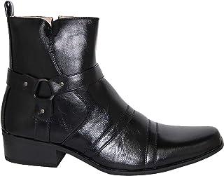 Krazy Shoe Artists Mayestic Men's Buckle Knight Cuban Heel Black Above Ankle Boot