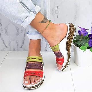 2020 الصيف المرأة الصنادل خياطة الصنادل السيدات المفتوحة تو عارضة الأحذية منصة إسفين الشرائح الشاطئ ، الأبيض ، 38