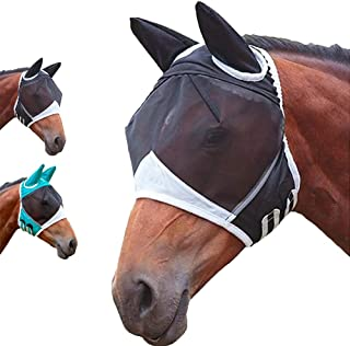 Horse Fly Mask Super Comfort Fly Masks for Horses with Ears Elasticity Horse Fly Mask UV Protection Black (Black-Large)