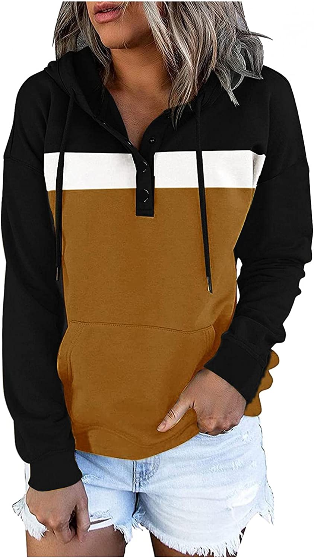 Oiumov Sweatshirts for Women, Womens Hoodies Casual Long Sleeve Drawstring Loose Pullover Hooded Tops Blouse