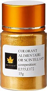 sim gold leaf Poudre Alimentaire Comestible Colorant Or Scintillant - Pot De 15 g