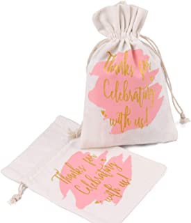 WRAPAHOLIC 5x7 inch 10 pcs Burlap Drawstring Gift Bags - Pink Watercolor with Gold