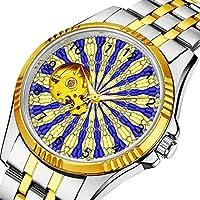 時計、機械式時計 メンズウォッチクラシックスタイルのメカニカルウォッチスケルトンステンレススチールタイムレスデザインメカニ (ゴールド)-057. 抽象的なモダンパターン